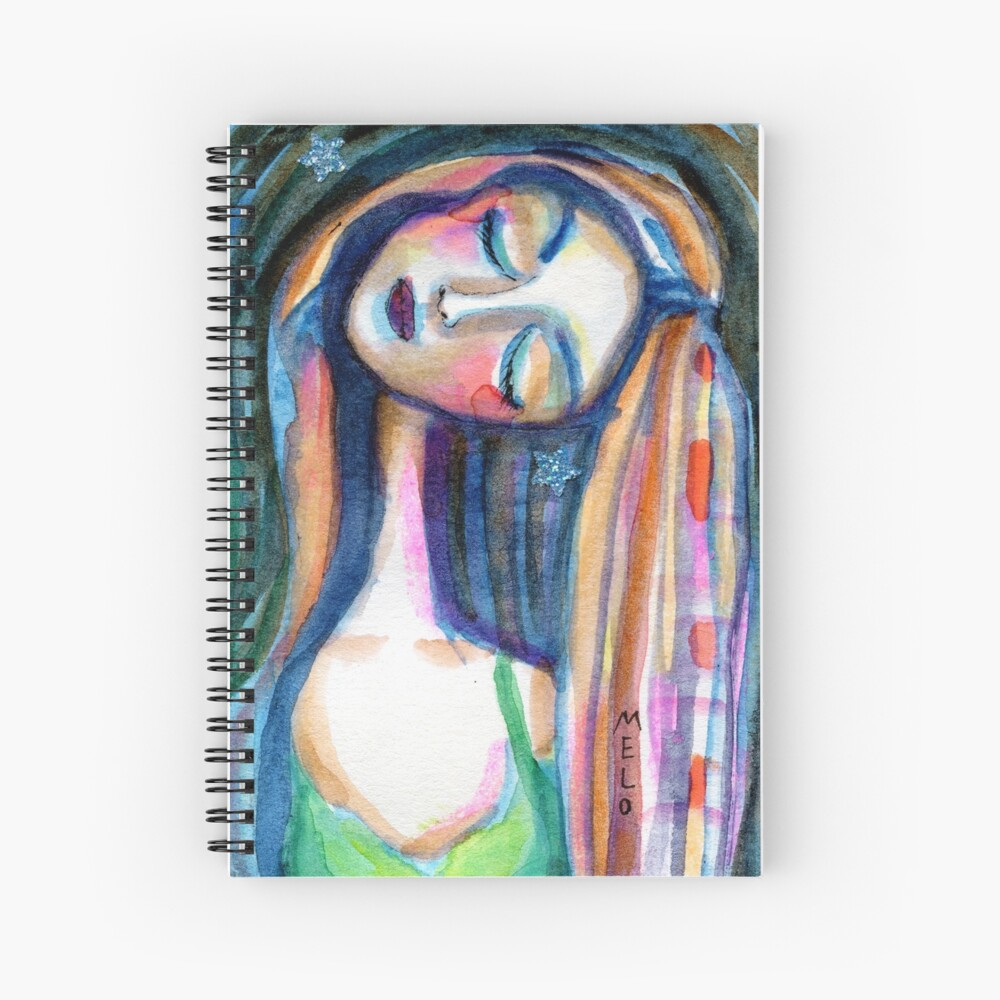 Dreamer Girl, Daydreaming Woman by Meloearth Spiral Notebook