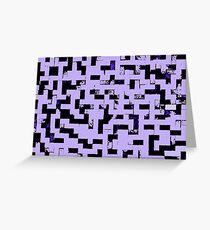 Line Art - The Bricks, tetris style, purple and black Greeting Card