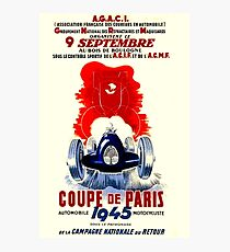 COUPE DE PARIS; Vintage Auto Racing Print Photographic Print