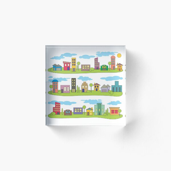 My Little Town by Faye Klein Acrylic Block