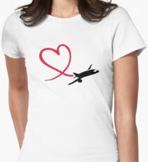 Airplane heart love Women's Fitted T-Shirt