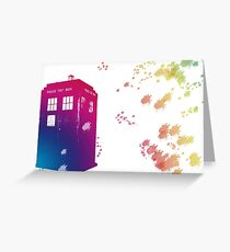 Doctor who - The Tardis in Watercolours ... Geronimo ! * laptop skins, and mugs added * Greeting Card