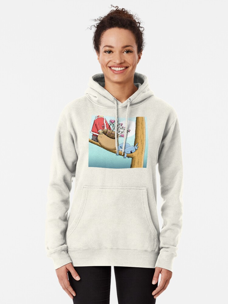 Alternate view of Cute Sleeping Koala and Father Christmas Pullover Hoodie