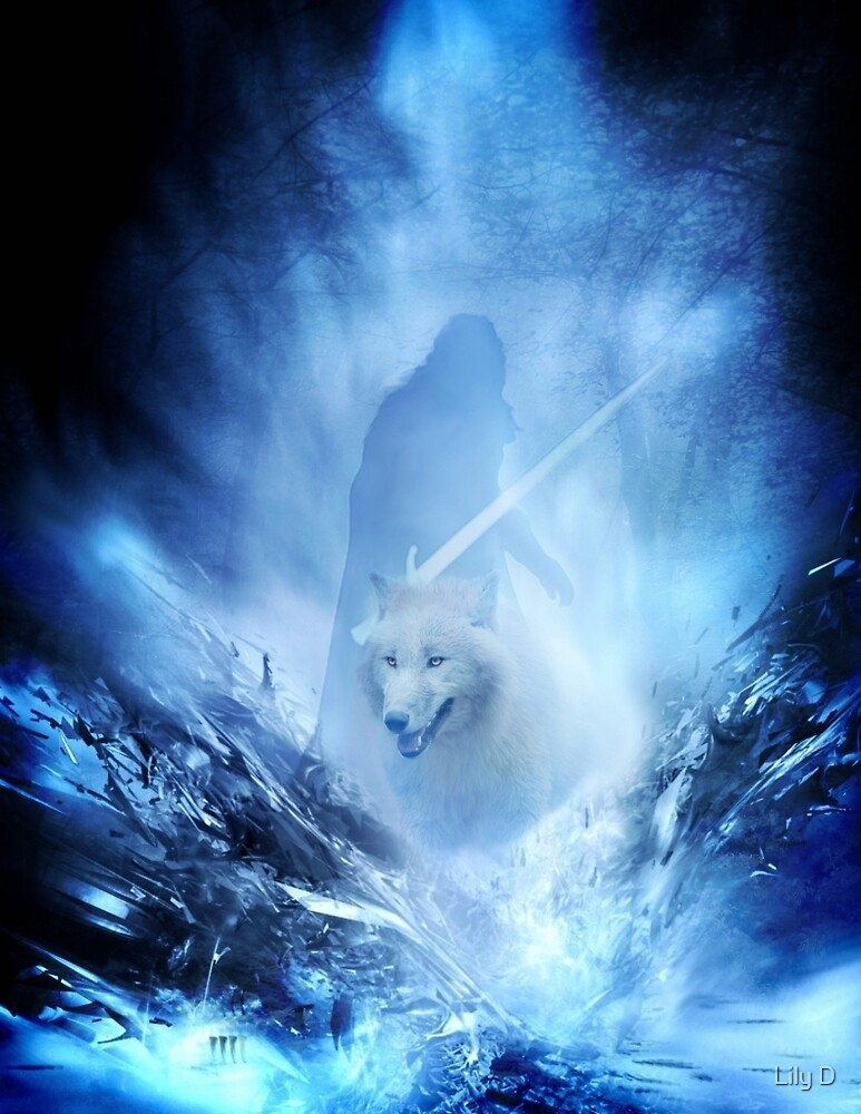 Jon Snow and Ghost - Game of thrones - Winter is here by Art Dream Studio