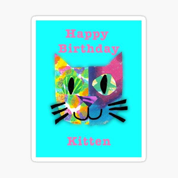 Happy Birthday Kitten  Sticker