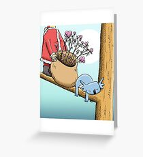 Cute Sleeping Koala and Father Christmas Greeting Card