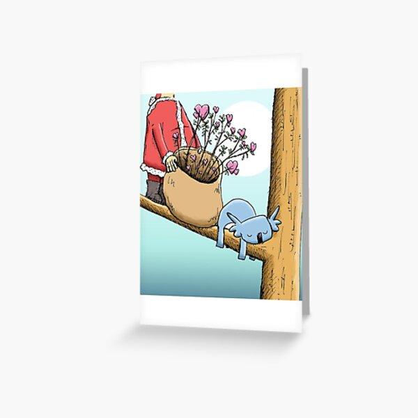 Cute Sleeping Koala and Father Christmas Greeting Card