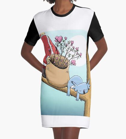 Cute Sleeping Koala and Father Christmas Graphic T-Shirt Dress