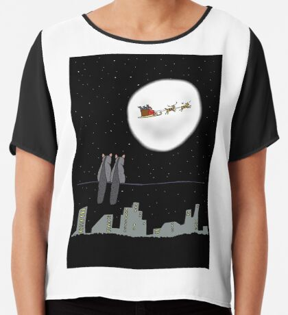 Two Brushtail Possums watching Father Christmas Chiffon Top
