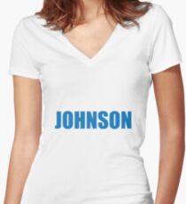 Johnson (Blue) Women's Fitted V-Neck T-Shirt