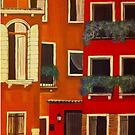 Orange and red rustic buildings Acrylic painting  by Melissa Renee