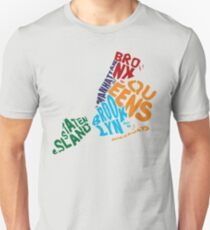 New York City Five Boroughs Typography Map Unisex T-Shirt