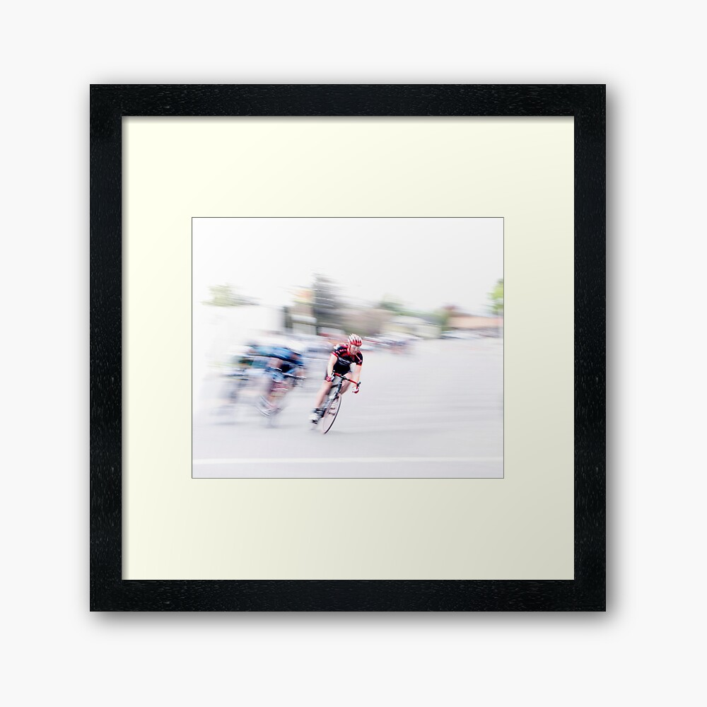 Speeding into the Curve Framed Art Print