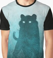 Space Tiger Silhouette: Teal Ghost Graphic T-Shirt