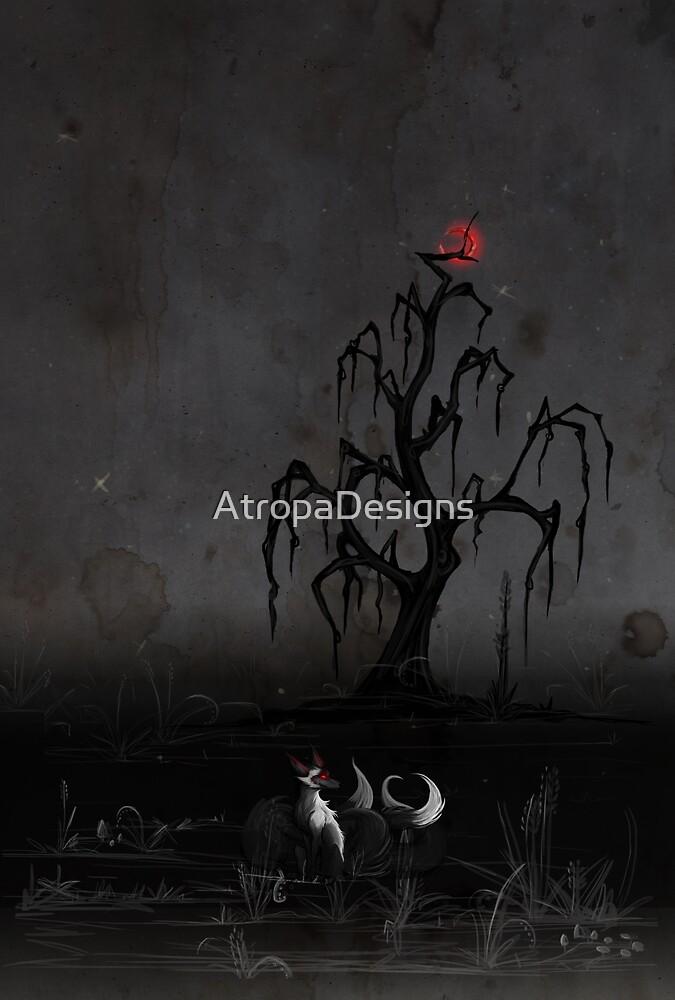 Fox Beneath the Red Moon by AtropaGrimm