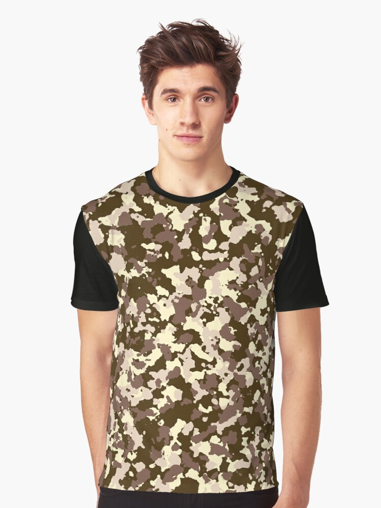 Brown camo pattern Graphic T-Shirt Front