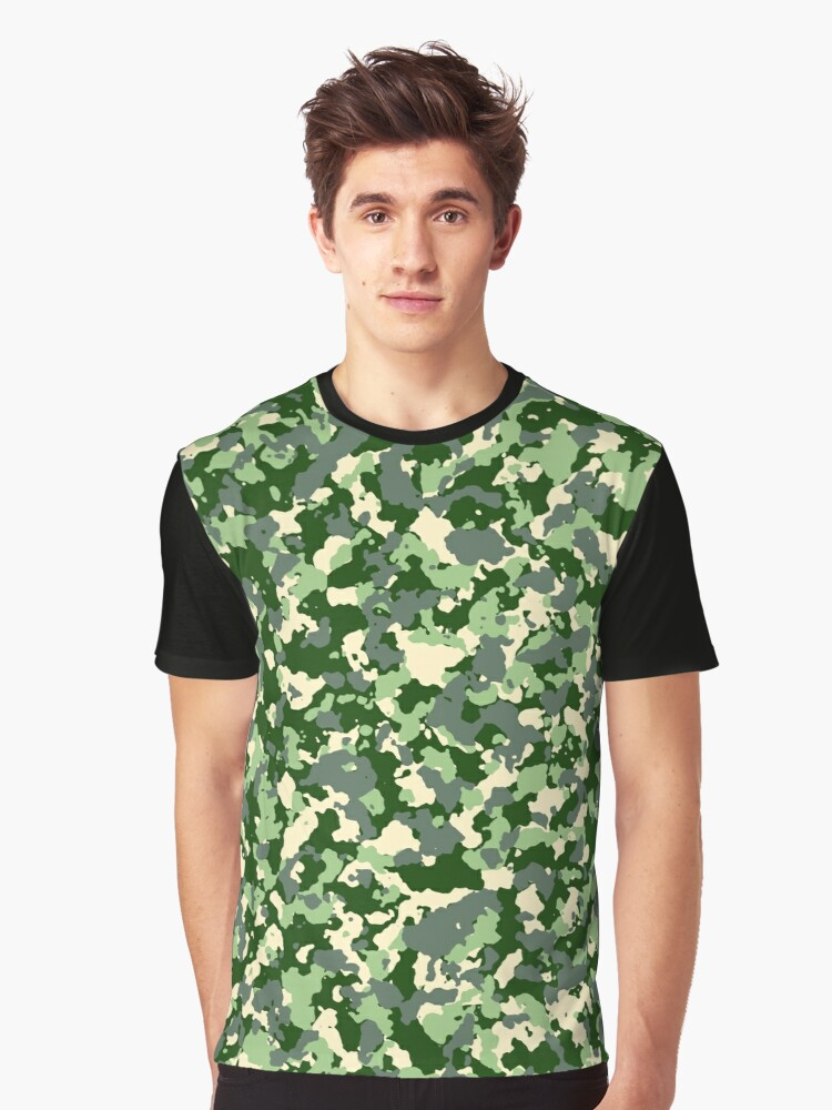 Green camo pattern Graphic T-Shirt Front