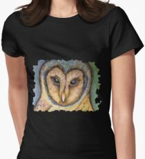 Majestic Owl Oil Pastel Women's Fitted T-Shirt