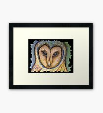 Majestic Owl Oil Pastel Framed Print