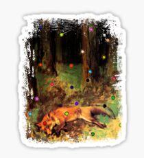 Degas' Dead fox in the forest by Ally Nix Sticker