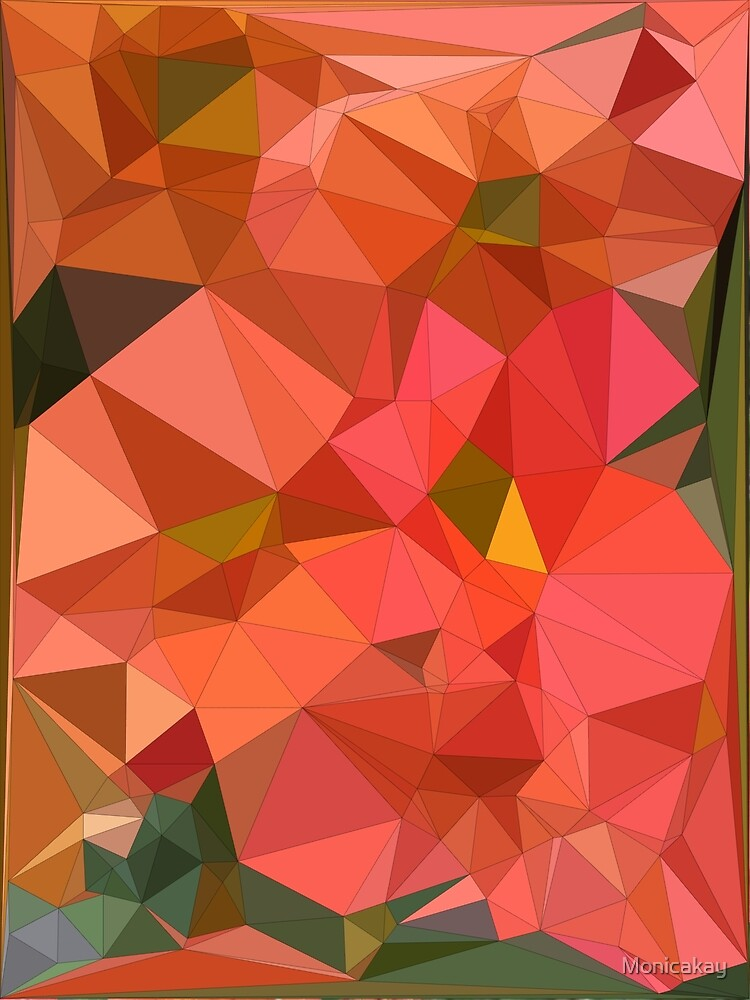 Abstraction #145 Pink and Orange triangles  by Monicakay