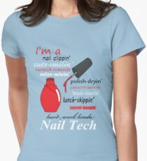 Nail Tech (red polish) Womens Fitted T-Shirt