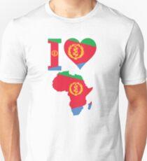 I love Eritrea flag Africa map t-shirt Unisex T-Shirt