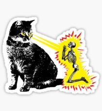 What your cat is really thinking, cat death ray Sticker