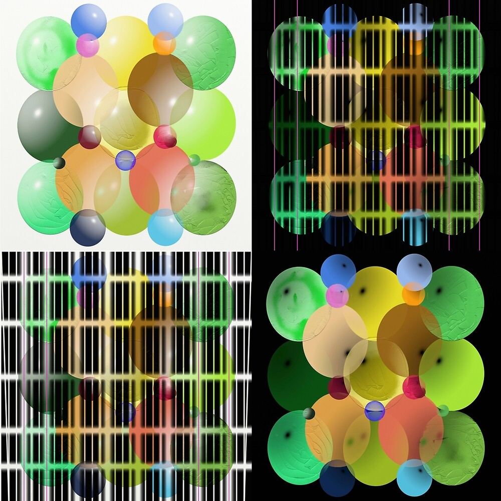 Ellipses Spheres Panel 2x2 by ScHPhotography Digital Paintings and Design