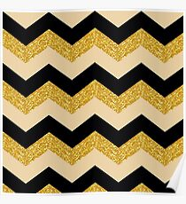 Black and Gold Chevron Poster