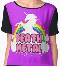 DEATH metal parody funny unicorn rainbow  Chiffon Top