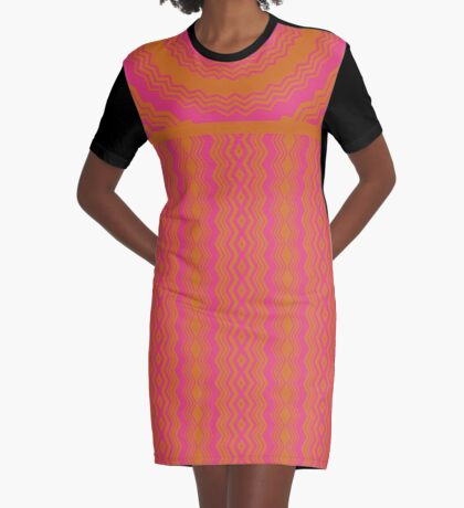 Orange Meets Pink Graphic T-Shirt Dress