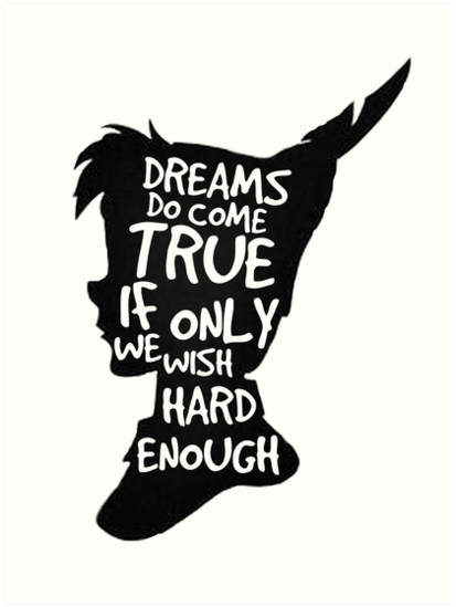 quotdreams peter pan quote silhouette quot art prints by alyssa