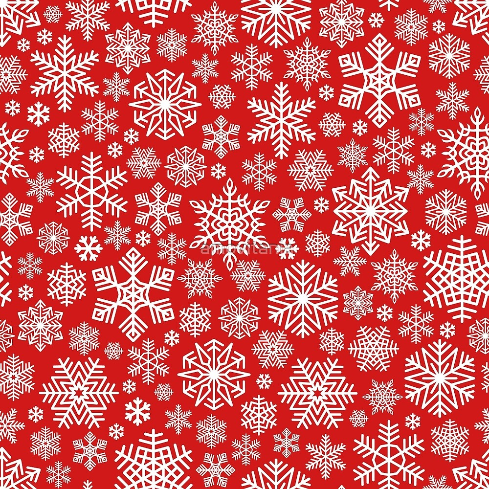 White Snowflakes Pattern on Red Background by amovitania