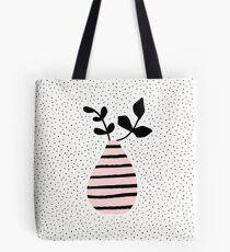 Pink Stripes and Branches Tote Bag