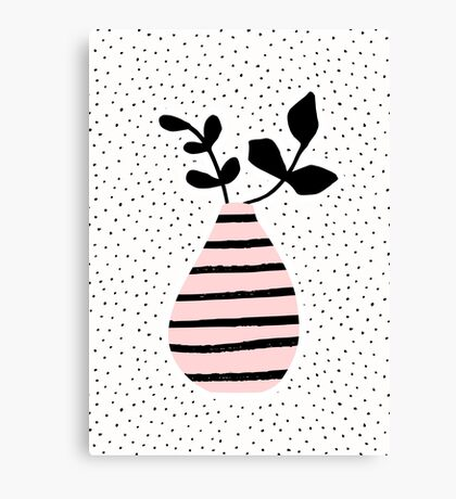Pink Stripes and Branches Canvas Print
