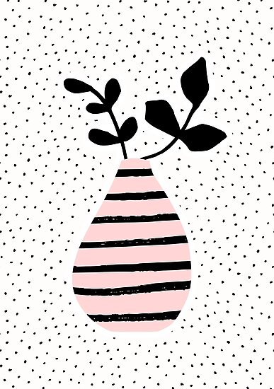 Pink Stripes and Branches by Iveta Angelova