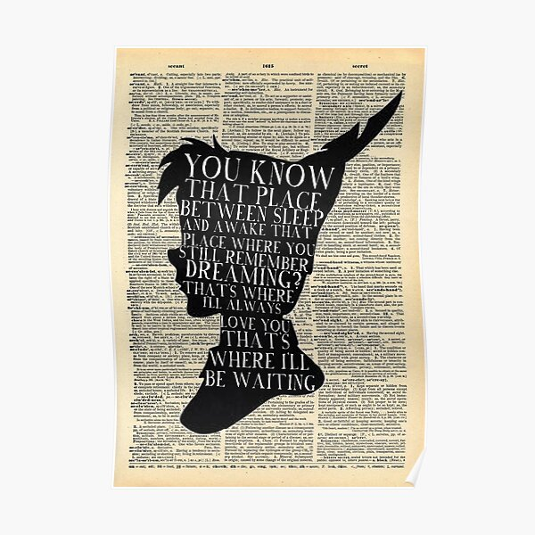 Peter Pan Vintage Dictionary Page Style -- That Place Poster