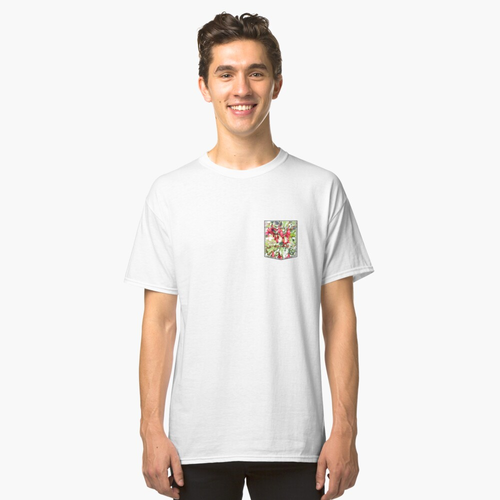 breast pocket with orchids Classic T-Shirt Front