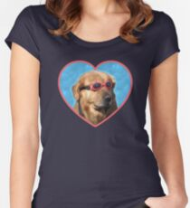 Camiseta entallada de cuello redondo Pegatinas Doggo: Perro Nadador