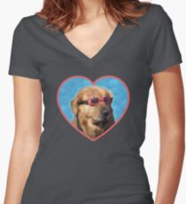 00c2011a661c Doggo Stickers  Swimmer Dog Women s Fitted V-Neck T-Shirt