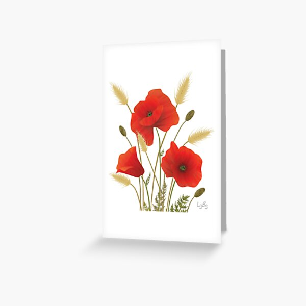 Textured Red Poppies in a Corn Field Greeting Card