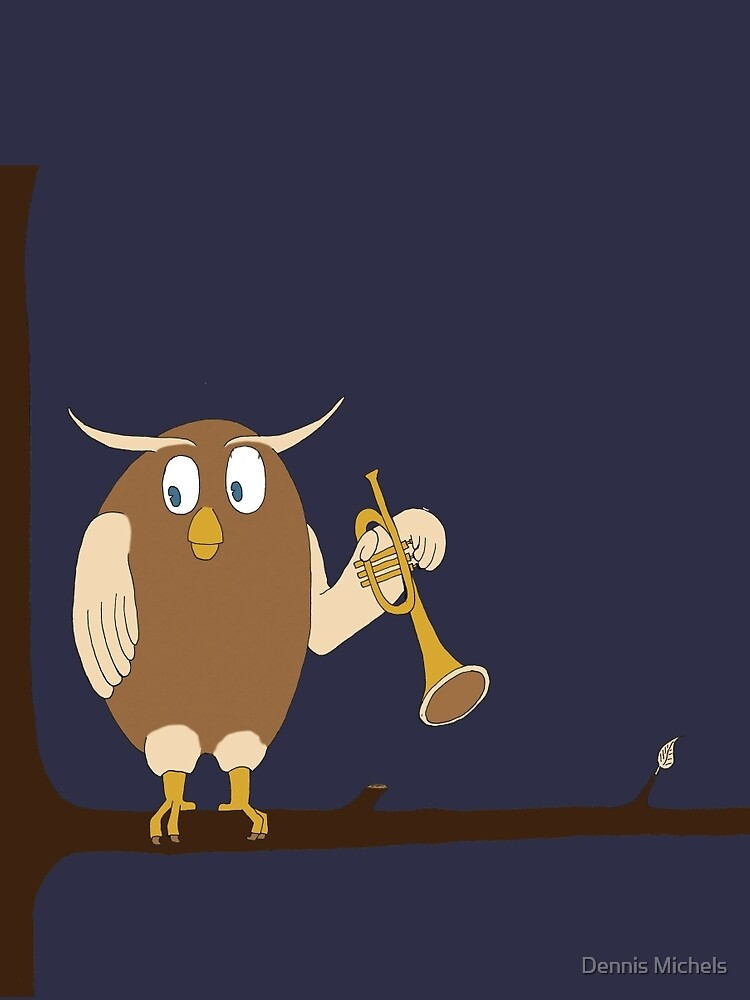 Owl playing the trumpet by Plaatjes