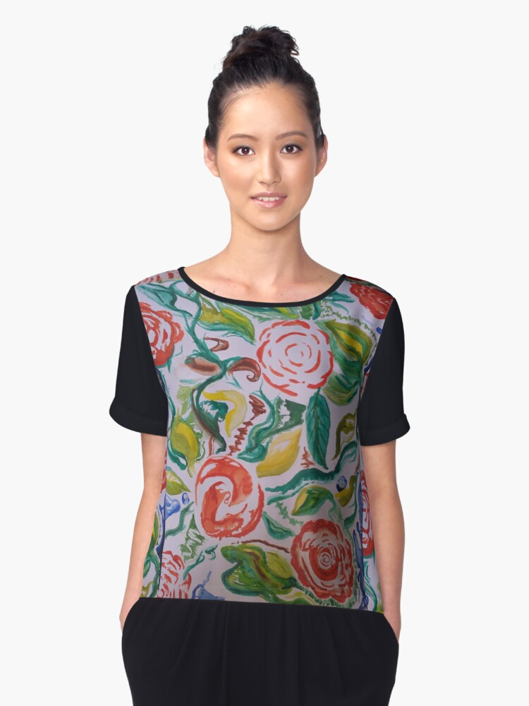 red roses Women's Chiffon Top Front