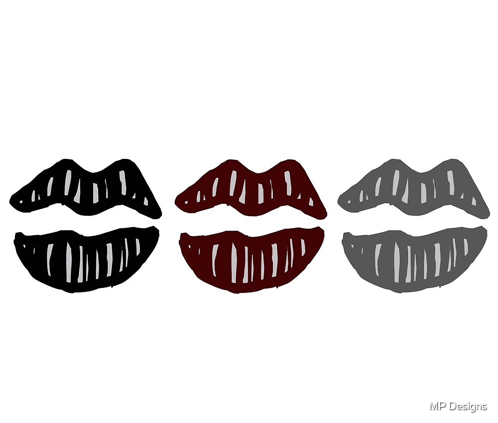 Lips (Black Maroon and Grey) by Marla Perelmuter
