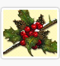 Christmas Holly, Berries, Pine Cones, Holiday Art Sticker