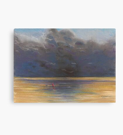 Windy walk on Brancaster Beach Canvas Print