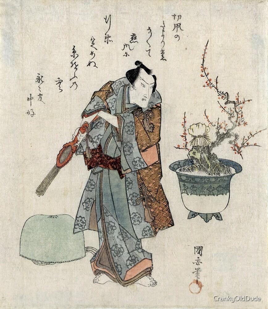 Actor Onoe Kikugoro And A Potted Plum Tree - Kuniyasu Utagawa - 1818 - woodcut by CrankyOldDude