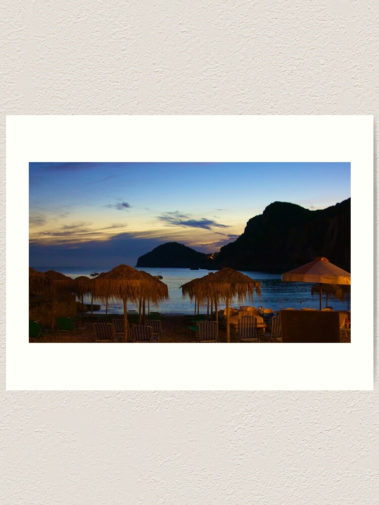 Alternate view of Dusk at Liapades Beach, Corfu, Greece Art Print