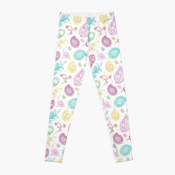 Paisley Pattern in Bright Jewels Colours Leggings
